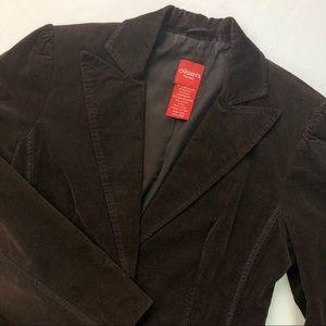 Olsen Europe brown velvet blazer satin trim Sz S